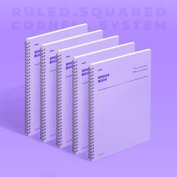 스프링북 컬러칩 - 바이올렛 (룰드) 5EA