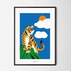 호랑이 기운 M 유니크 인테리어 디자인 포스터 A2(대형)