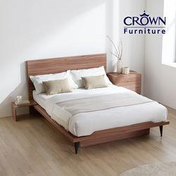 클라우드 라이트 월넛 침대 Q(독립매트리스 포함)