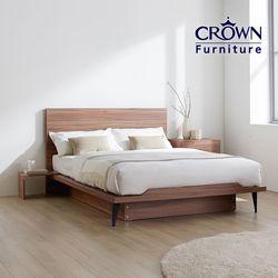 클라우드 라이트 월넛 침대 Q(라텍스매트리스 포함)