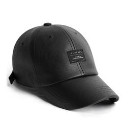 19F LEATHER BK BASIC CAP BLACK