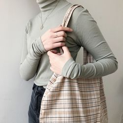slowstitch vintage brown check bag