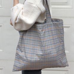 slowstitch vintage blue check bag.