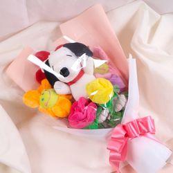 스누피 인형 꽃다발 스마일꽃인형