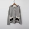 Wool Hood Patch Knit Cardigan -덤블안감