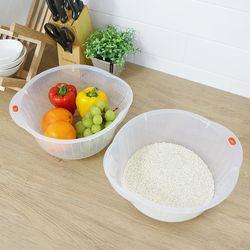 편리한 쌀세척 과일 야채 물빠짐 채반 믹싱볼 바가지