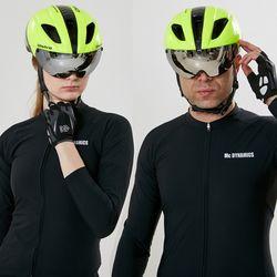 에어로 고글 자전거헬멧+미러고글그린블랙(유광)