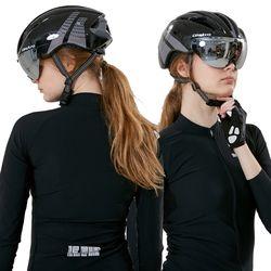 에어로 고글 자전거헬멧+미러고글블랙그레이(유광)
