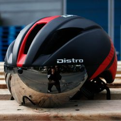 에어로 고글 자전거헬멧+미러고글블랙레드(무광)