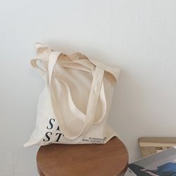 slowstitch simple loge bag ( ivory )