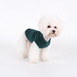 T.터들넥 니트 민소매 Turtle neck knit sleeveless T Green