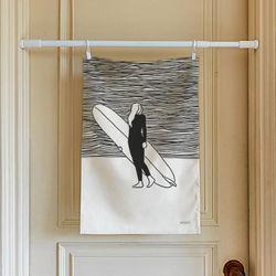 서핑 드로잉 패브릭 포스터.가리개커튼 (M 사이즈)