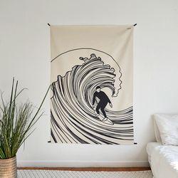 서핑 드로잉 패브릭 포스터.가리개커튼 (태피스트리)