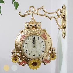 잉꼬 썬-도금부엉이 양면시계 SUN-298