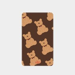 adult bear pattern brown 보조배터리