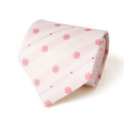 화이트 핑크 플라워 패턴 남자 넥타이