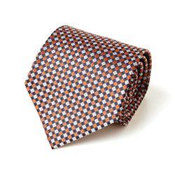 오렌지 스퀘어 패턴 남자 넥타이