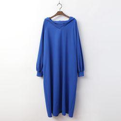 Spring Hood V-Neck Long Dress
