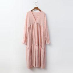 Spring Cancan V-Neck Long Dress