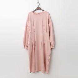 Pintuck Puff Long Dress