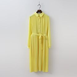 Color Pleated Long Dress