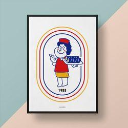 분식1988 M 유니크 인테리어 디자인 포스터 김밥 A3(중형)