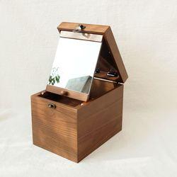 우드 화장품 수납 박스 경대 II (2 컬러)