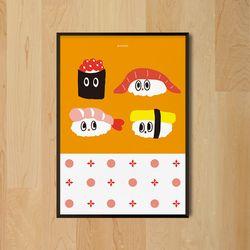 초밥교실 M 유니크 인테리어 디자인 포스터 스시 A3(중형)