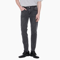 LM041 CUTTING STRAIGHT BLACK JEANS