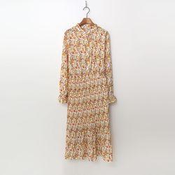 Vintage Flower Pleated Long Dress
