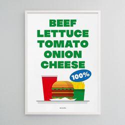 신선한 햄버거 M 유니크 인테리어 디자인 포스터  A3(중형)