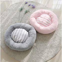 스트라이프 도넛 방석L (핑크그레이)