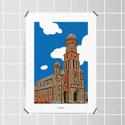 전주 전동성당 M 유니크 인테리어 디자인 포스터 A3(중형)
