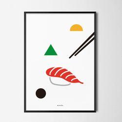 심플쿡2 초밥 M 유니크 인테리어 디자인 포스터 A3(중형)