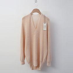Laine Cotton V-Neck Unbal Sweater
