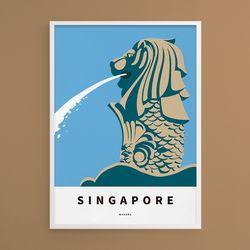 싱가포르 머라이언 M 유니크 인테리어 디자인 포스터 A2(대형)
