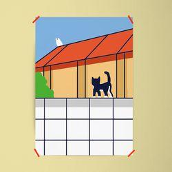 턱시도 고양이 M 유니크 인테리어 디자인 포스터 A3(중형)