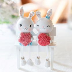 핑크로즈 토끼 커플 2p set