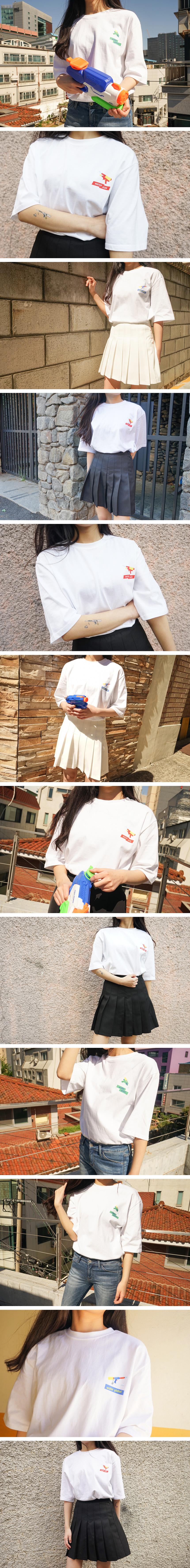 에이비로드(ABROAD) Water Gun Half T-Shirts (blue)