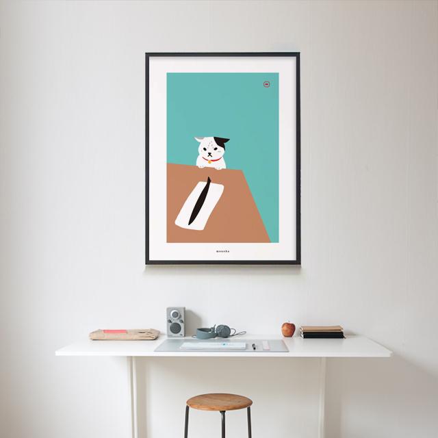 유니크 인테리어 디자인 포스터 M 고양이와 꽁치 - 모노하, 13,320원, 홈갤러리, 포스터