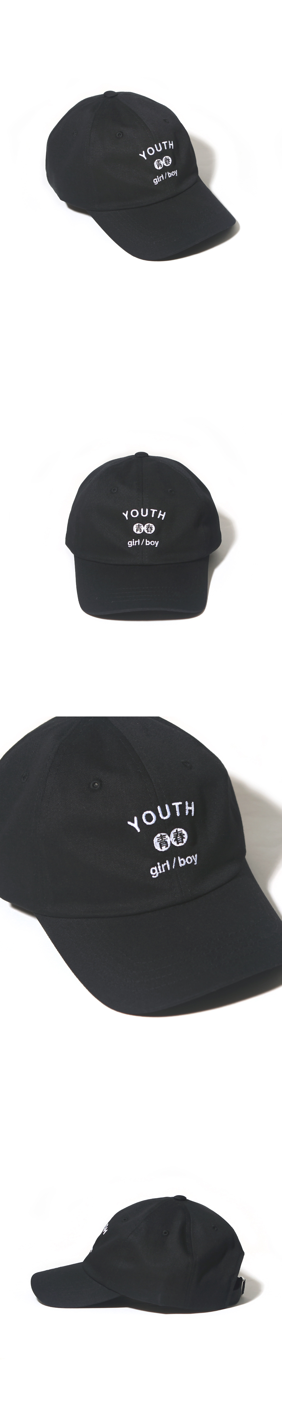YOUTH CURVED CAP-BLACK
