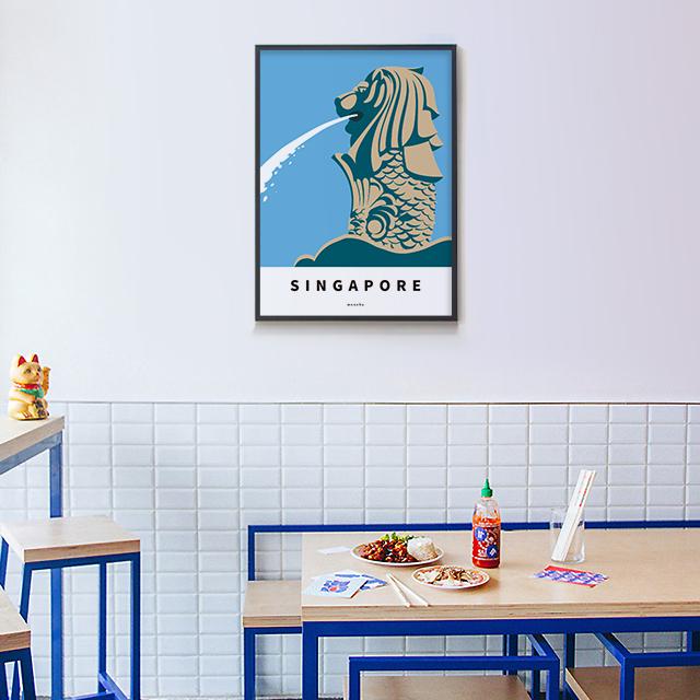 싱가포르 머라이언 M 유니크 인테리어 디자인 포스터 여행 - 모노하, 14,800원, 홈갤러리, 포스터