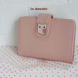 La chouette card wallet-baby pink