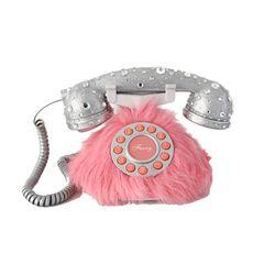 핑크 퍼 크리스탈 텔레폰