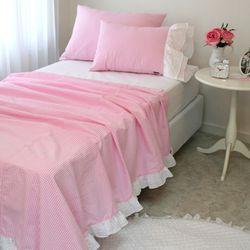 체크 리플 Pink (홑겹이불)-1인용