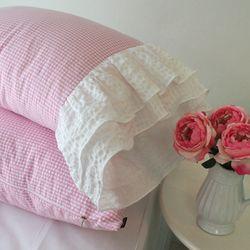 체크 리플베개 Pink-B프릴형