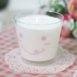 스마일 디저트컵 양면-핑크(뚜껑포함)