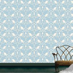 패턴벽지 파랑새