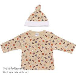 H-22171 Sports 별나라 모자+티셔츠 세트 Brown