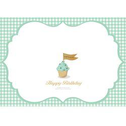 달콤 컵케익-민트 테이블셋팅지+꼬깔도안 6셋트